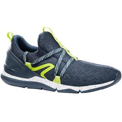 Herensneakers voor sportief wandelen PW 140 grijs / geel
