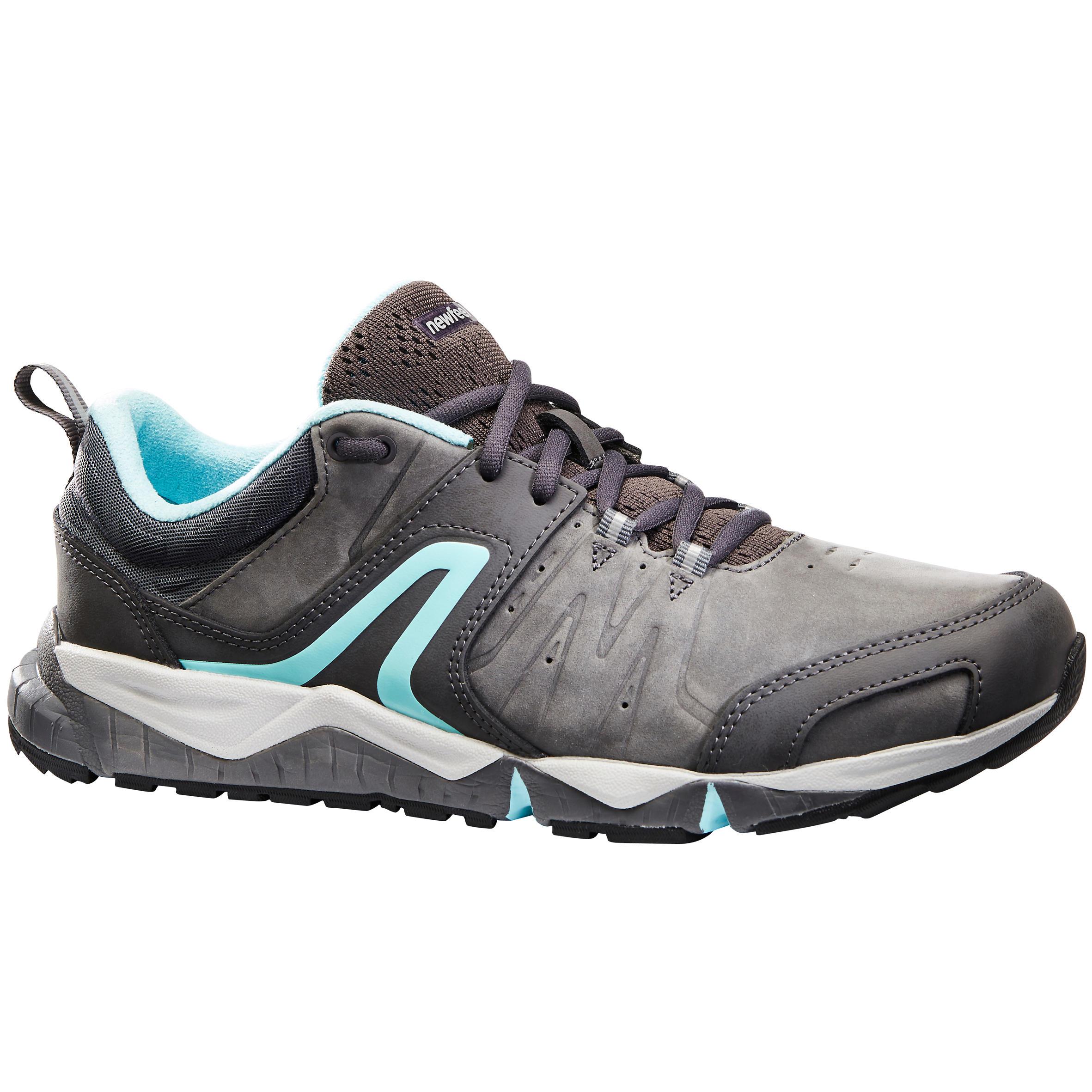 Newfeel Damessneakers voor sportief wandelen PW 940 Propulse Motion leer grijs / blauw