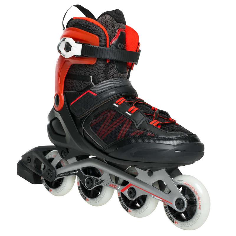 Детские коньки Роликовые коньки - Ролики Fit500 черно-красные OXELO - Роликовые коньки