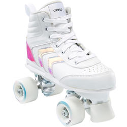 100 JR Quad Roller Skates - Holographic White