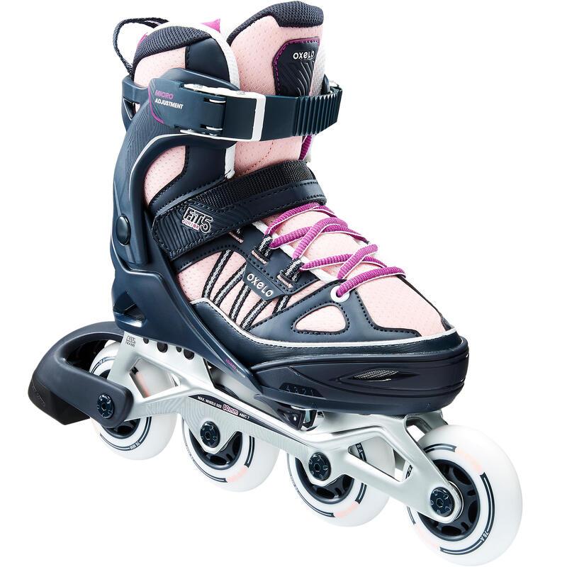 Fitness skates voor kinderen Fit 5 pastel perzik/grijs