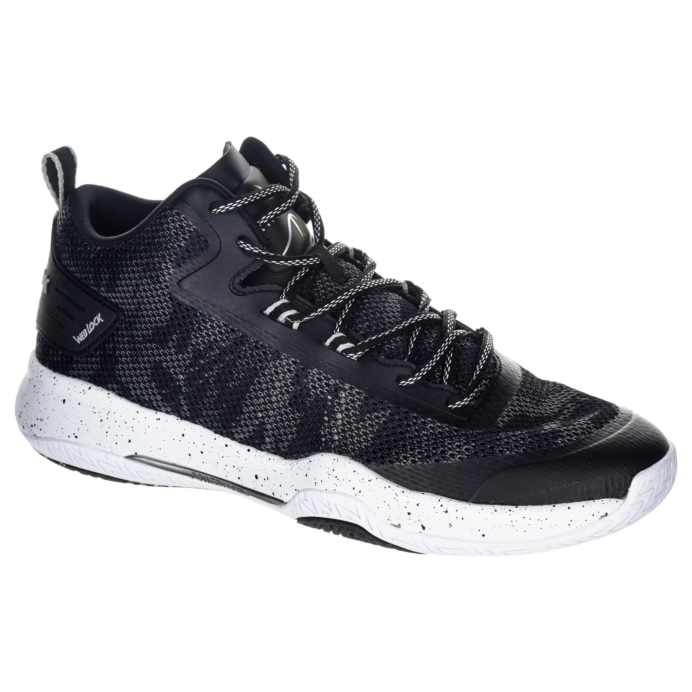 2586021 Tarmak Basketbalschoenen volwassenen H/D halfgevorderden SC 500 mid zwart wit