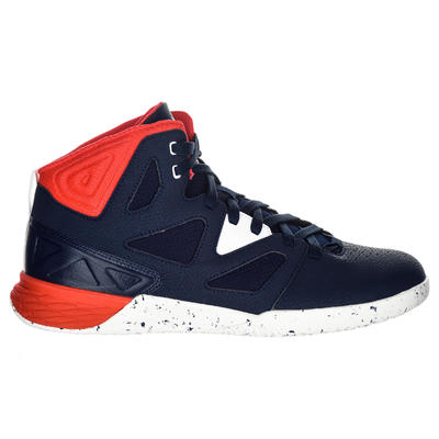 حذاء كرة السلة Shield 300 للمبتدئين الكبار من الجنسين - لون أزرق/ أبيض/ أحمر