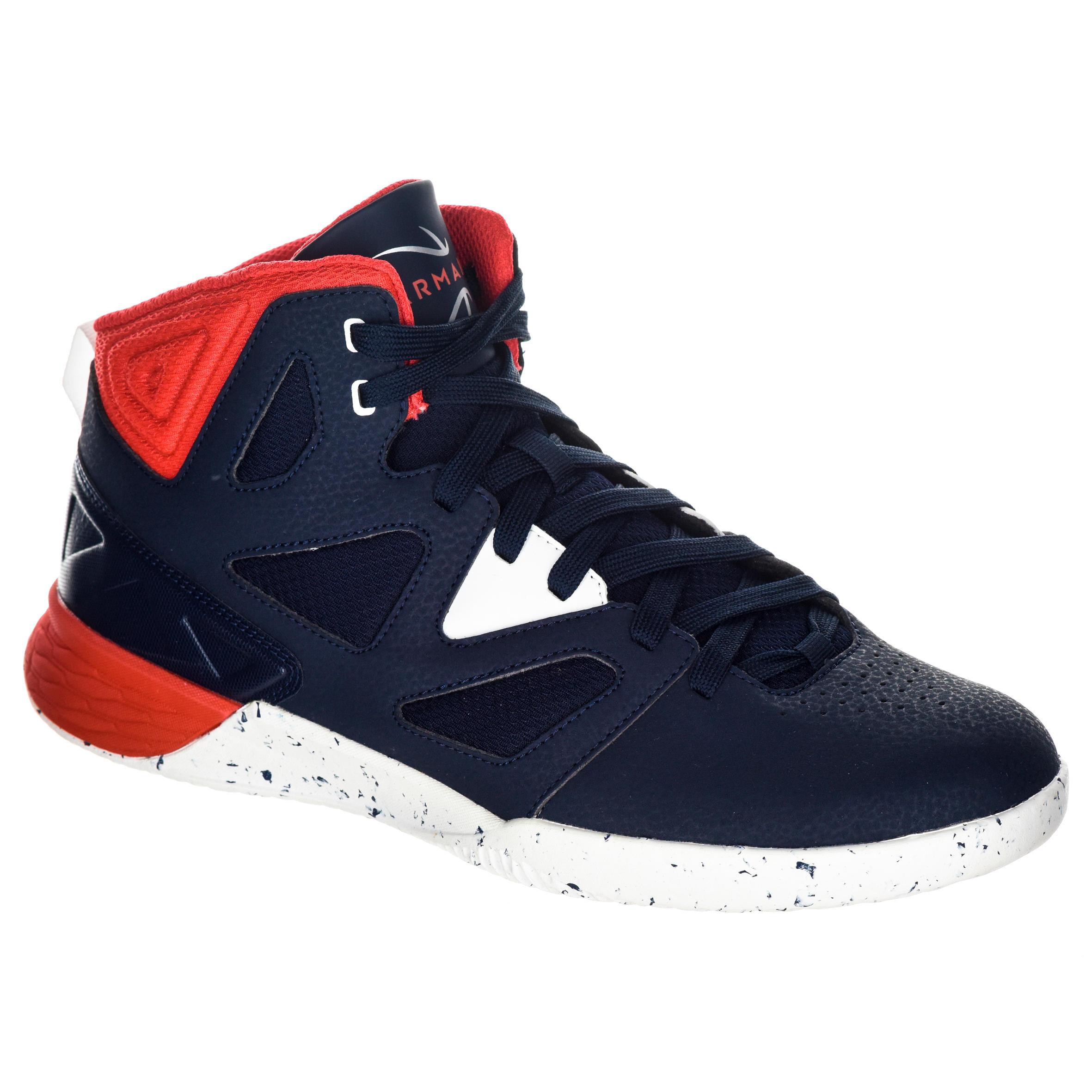 Tarmak Basketbalschoenen volwassenen H/D beginners blauw wit rood
