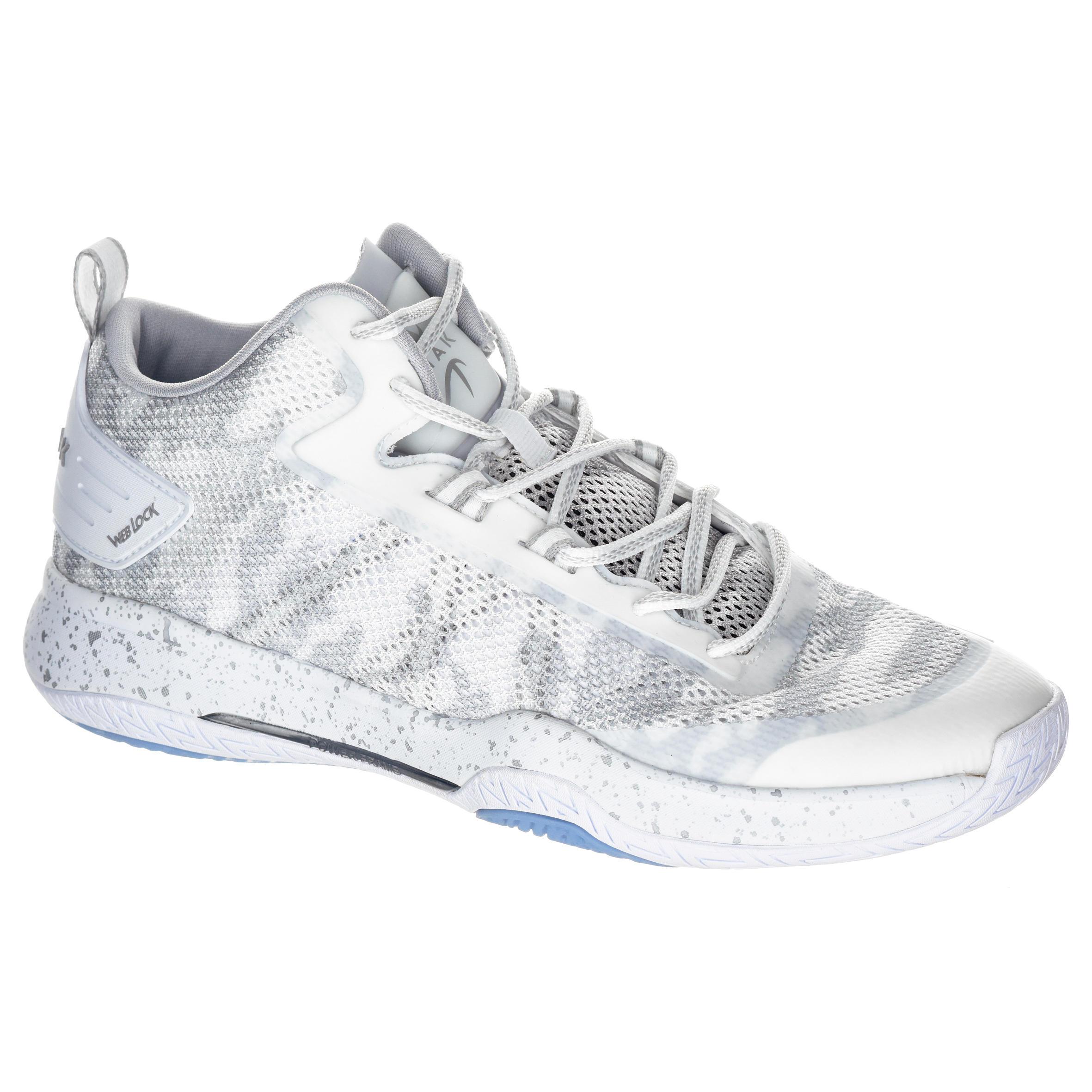 2588916 Tarmak Basketbalschoenen volwassenen H/D halfgevorderden SC 500 mid wit