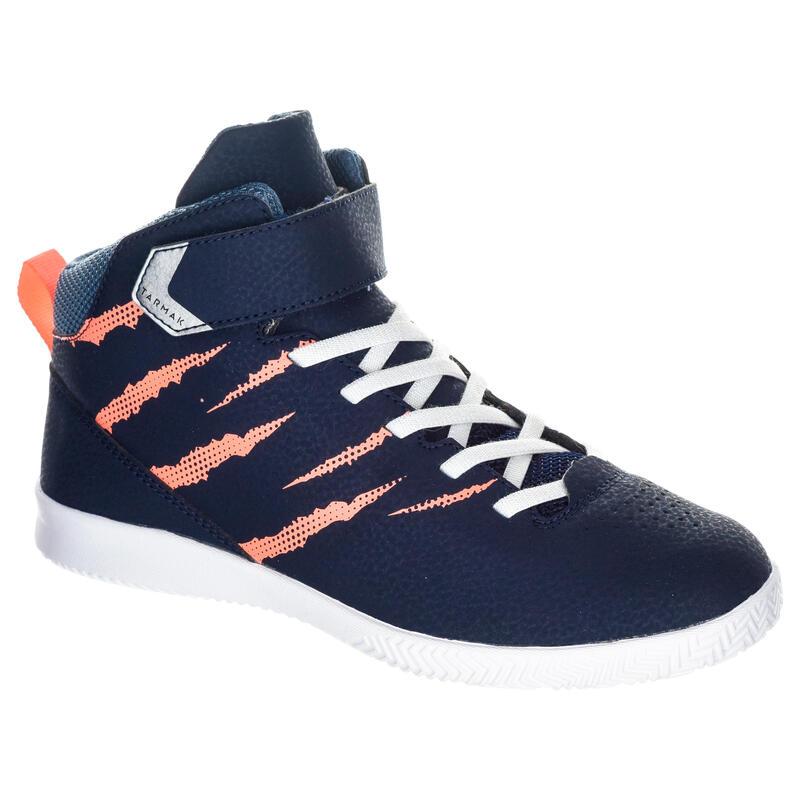 Dívčí basketbalová obuv SE100 tmavě modro-růžová