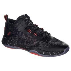 成人款中階中筒籃球鞋SC500-黑色/紅色