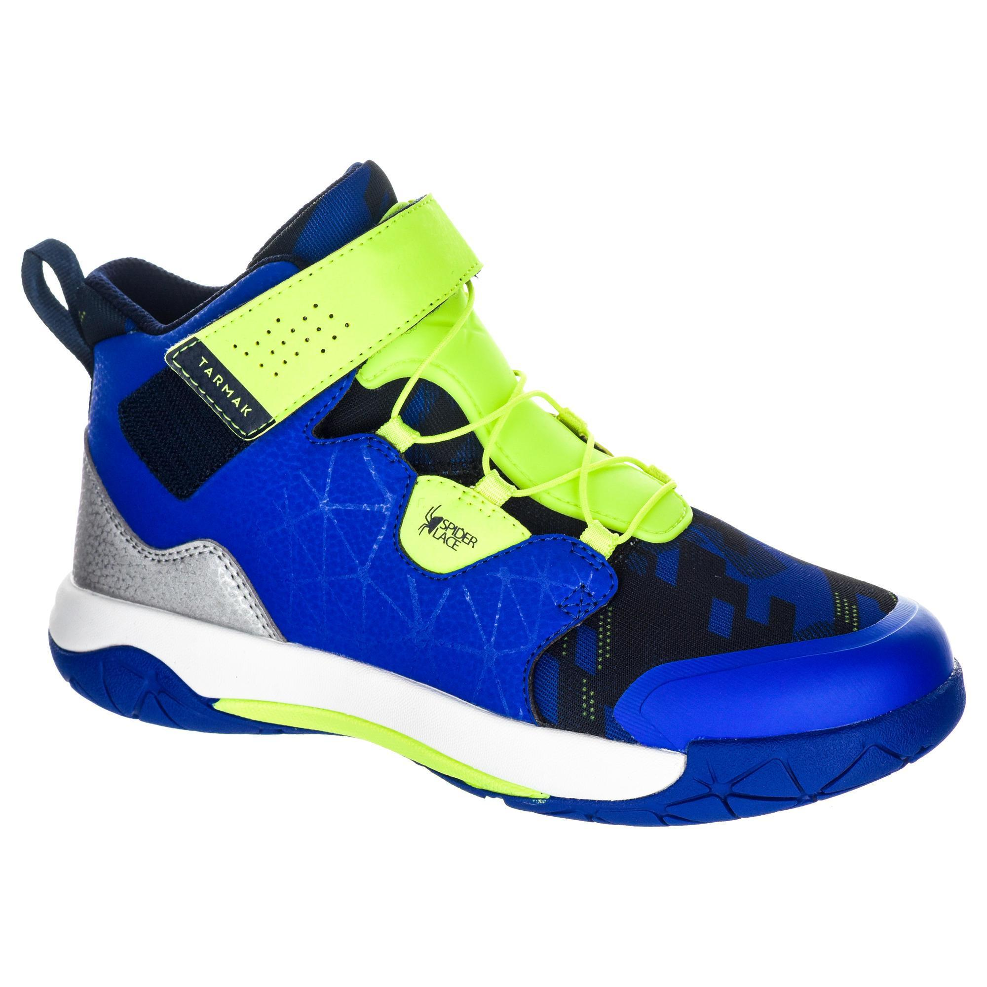 2587991 Tarmak Basketbalschoenen Spider Lace dames halfgevorderden blauw geel