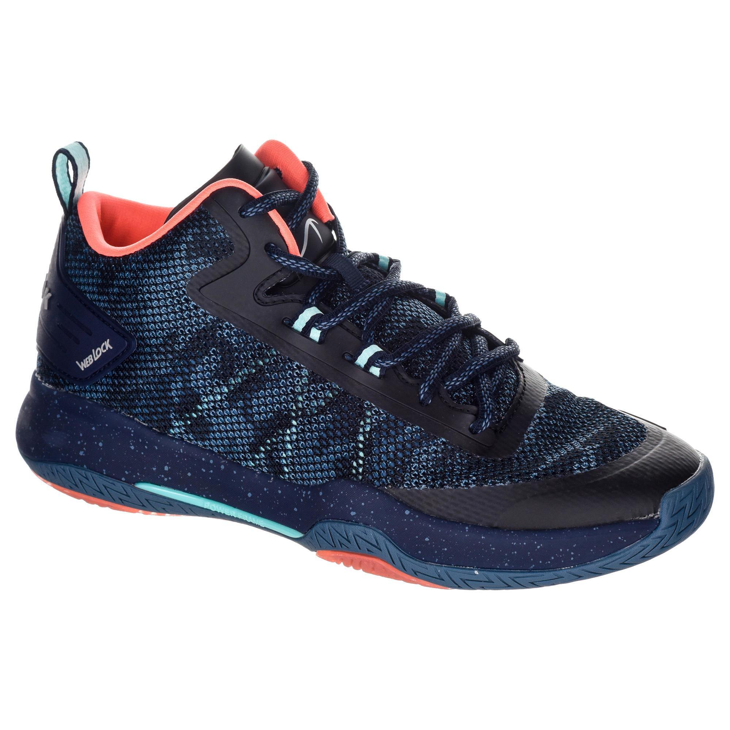 2588943 Tarmak Basketbalschoenen volwassene H/D halfgevorderden SC 500 mid zwart roze turquoise