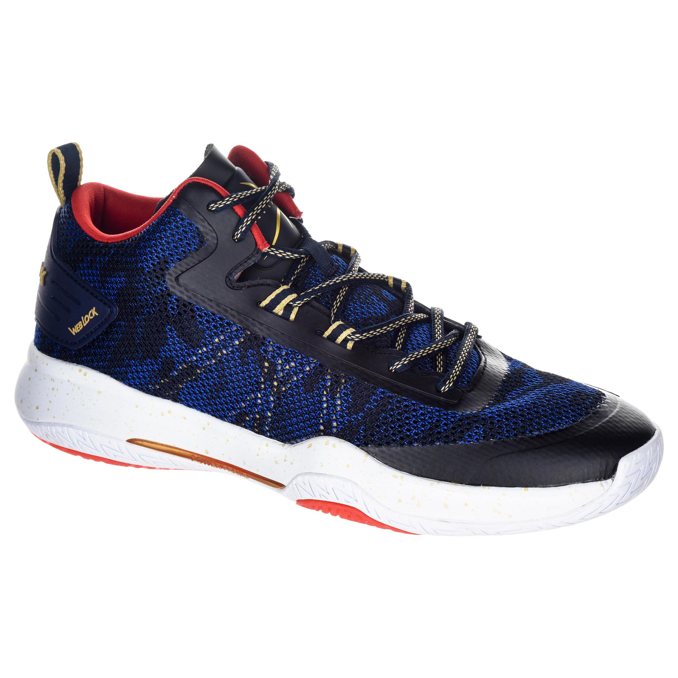 Tarmak Basketbalschoenen SC500 mid blauw/rood/goud (heren)