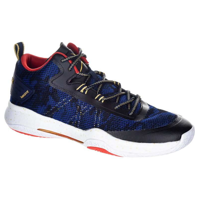 Basketbalschoenen heren/dames gevorderden SC500 mid blauw/rood/goud