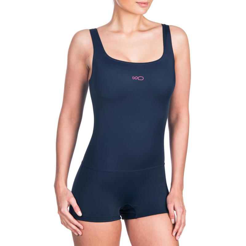 401d9aed4557 Traje de baño de natación para mujer una pieza Heva traje corto Azul marino