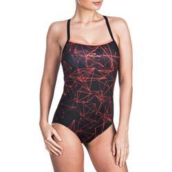 Bañador de natación una pieza para mujer, resistente al cloro Jade stel naranja