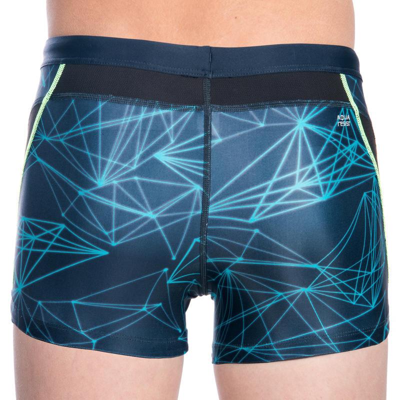 กางเกงว่ายน้ำขาสั้นสำหรับผู้ชายรุ่น STAB (สีน้ำเงิน/เขียว)