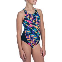 Bañador de natación una pieza niña resistente al cloro Kamiye diago