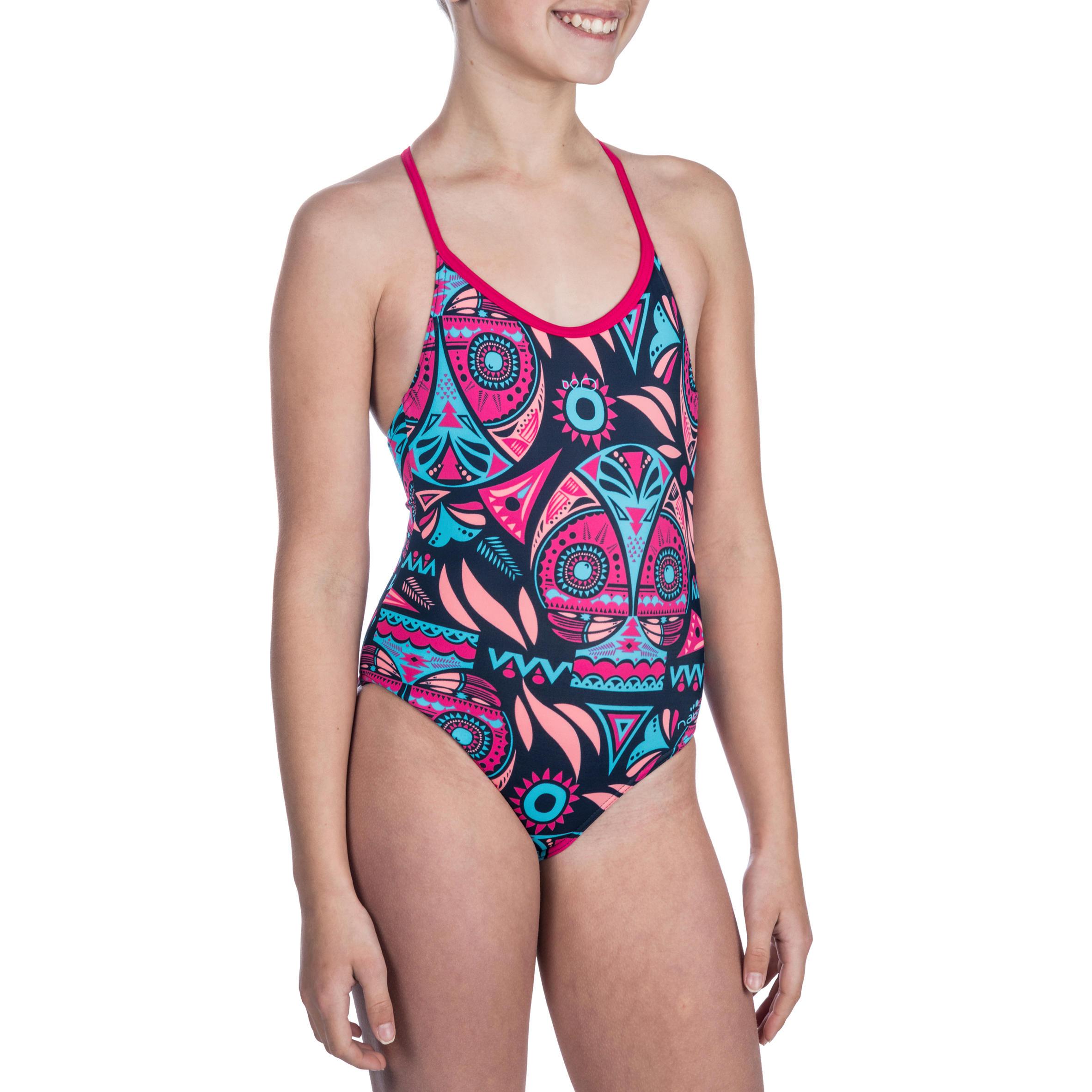 Bañador de natación una pieza niña Riana Allowly azul rosa