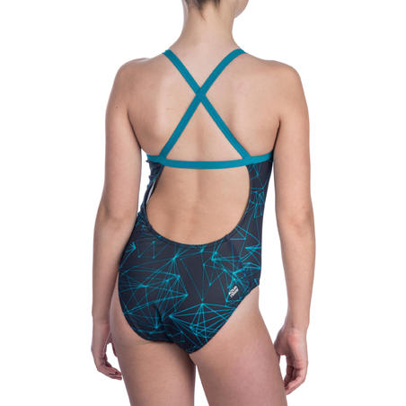 Jade Girls' Chlorine Resistant One-Piece Swimsuit - Stel Blue