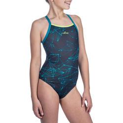 Bañador de natación una pieza para niña, resistente al cloro Jade stel azul