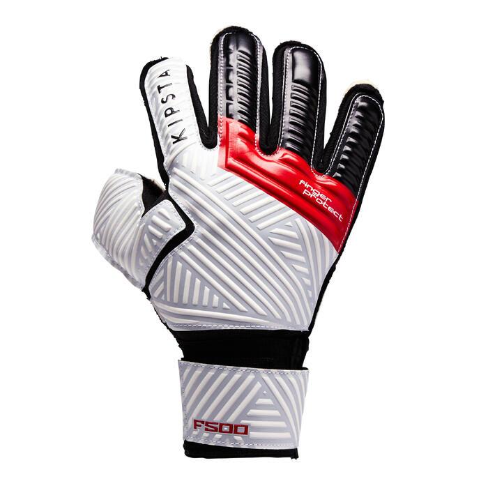 Gant de gardien de football enfant F500 Protect enfant rouge blanc gris clair