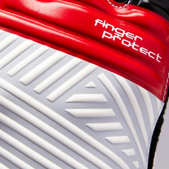 Guantes de portero de fútbol para niños F500 Protect rojo blanco gris claro