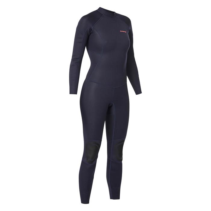 Combinaison SURF 100 Néoprène 2/2 mm femme Bleu marine back zip