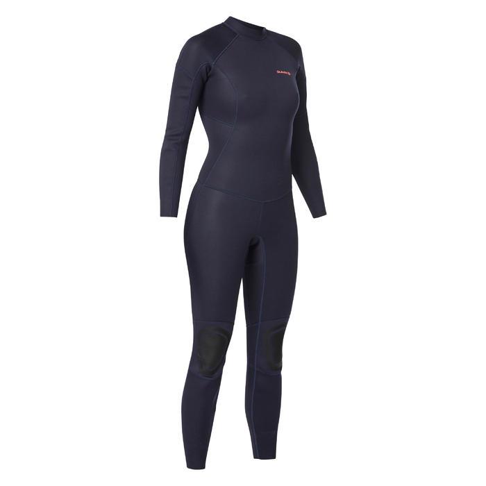 Wetsuit dames 2/2 mm 100 backzip marineblauw