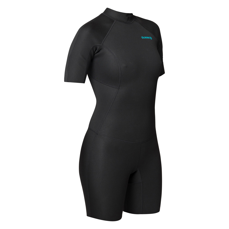 Neoprenanzug Shorty Surfen 100 Neopren 1,5mm Damen schwarz | Sportbekleidung > Sportanzüge > Sonstige Sportanzüge | Schwarz - Blau - Türkis | Olaian
