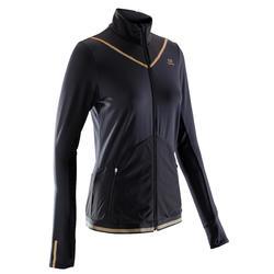 Hardloopjack voor dames Kiprun Warm zwart goud