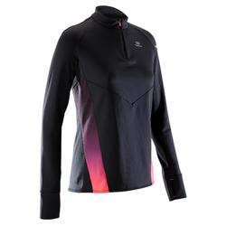 TEE SHIRT MANCHES LONGUES RUNNING FEMME KIPRUN WARM LIGHT NOIR ROSE