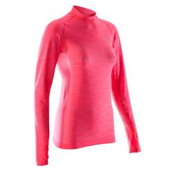 Camiseta Manga Larga Running Kalenji Kiprun Skincare Mujer Rosa Fluorescente