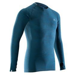 男款親膚跑步長袖T恤KALENJI KIPRUN藍綠色