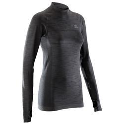 女款跑步長袖T恤KIPRUN SKINCARE - 灰色