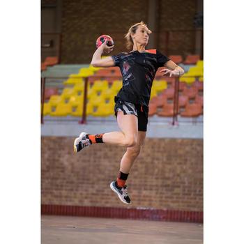 Short de handball H500 femme noir et gris