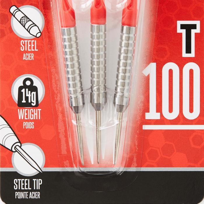 3 dartpijlen stalen punt T100 rood