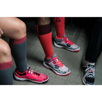 Chaussures de handball Mid femme grises et roses - 1422783