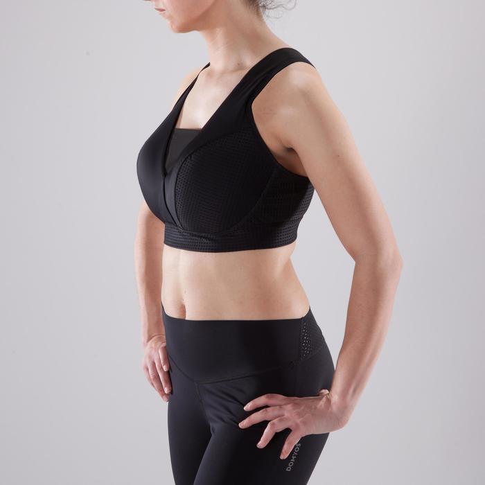 Brassière bonnets profonds fitness cardio-training femme noire 900