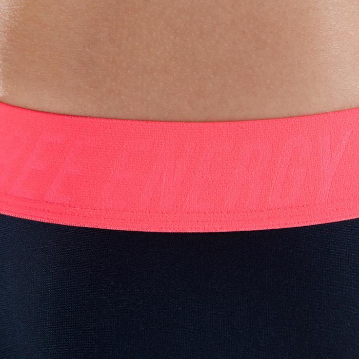 7/8-legging 500 cardiofitness dames zwart met roze opdruk