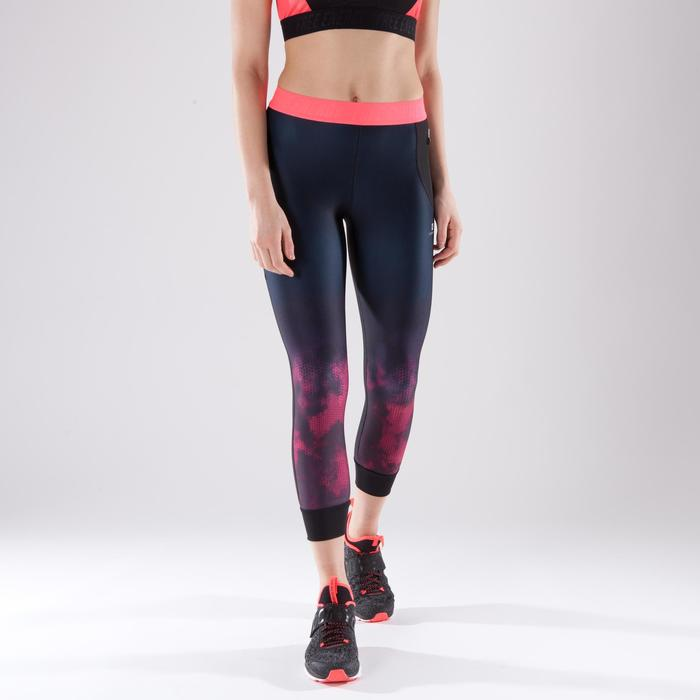 Leggings 7/8 fitness cardio-training mujer negro con estampados rosa 500