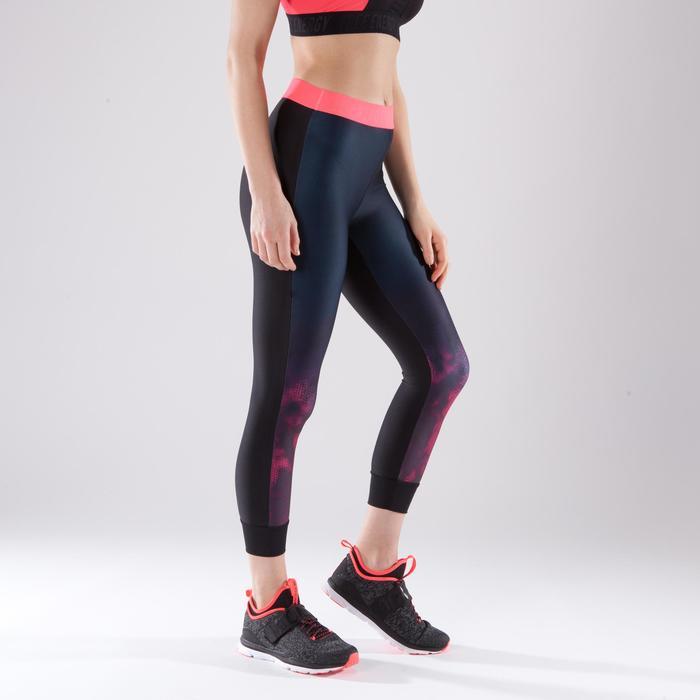 Legging 7/8 fitness cardio femme bleu marine détails tropicaux 500 Domyos - 1422830