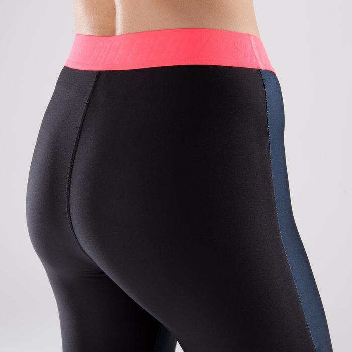 Legging 7/8 fitness cardio femme bleu marine détails tropicaux 500 Domyos - 1422831