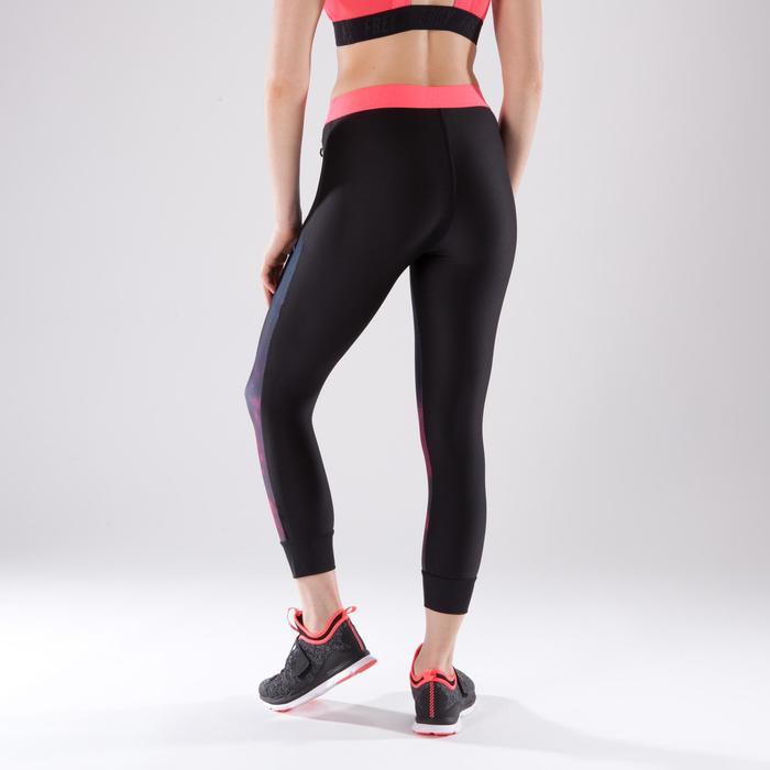 Leggings 7/8 fitness cardio-training mujer negro con estampados rosa 500