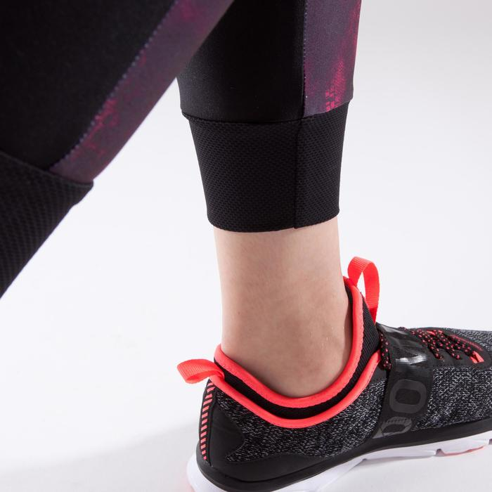Legging 7/8 fitness cardio-training femme noir avec imprimés roses 500
