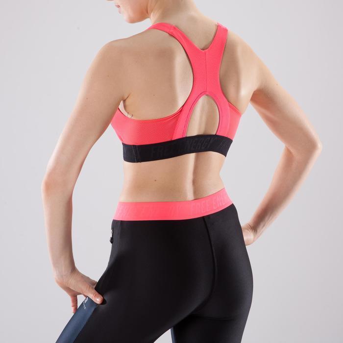 Brassière fitness cardio femme à imprimés tropicaux roses 500 Domyos - 1422838