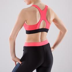 Top Sujetador deportivo Cardio Fitness Domyos 500 mujer negro coral