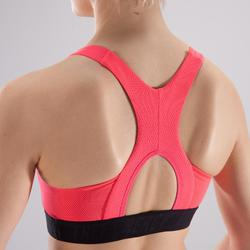 Sujetador-top fitness cardio-training mujer negro y rosa 500