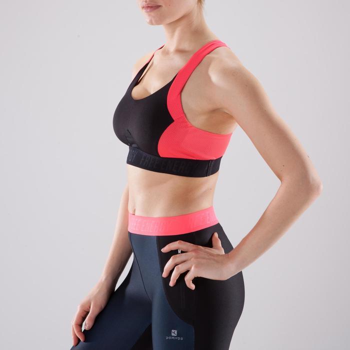 Sport-Bustier 500 Fitness Cardio Damen schwarz/rosa