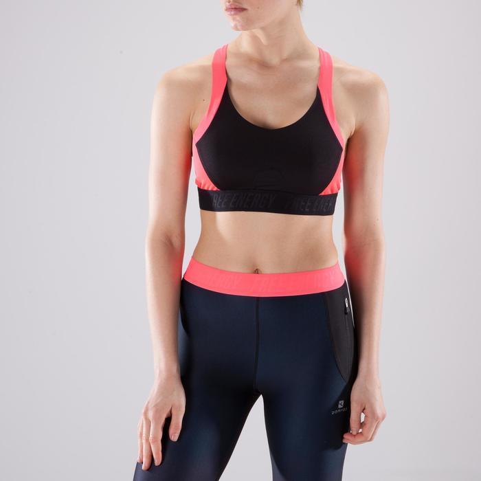 Brassière fitness cardio femme à imprimés tropicaux roses 500 Domyos - 1422843