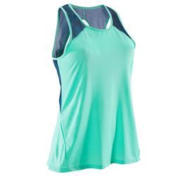 女款有氧健身運動背心500 - 薄荷綠