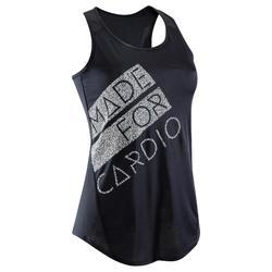 Fitness top 120 voor dames, zwart/wit