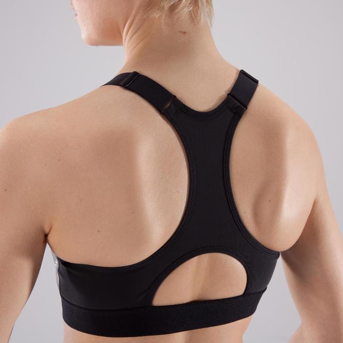 Brassière zip fitness cardio femme imprimés tropicaux roses 900 Domyos - 1422972